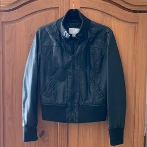 Black Faux leather cropped jacket! Size Large